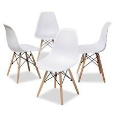 Set Of 4 White Eiffel Shell Pyramid Dining Side Chairs With Wood Leg Dowel Base