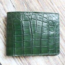 Crocodile Leather Skin Men's bifold wallet DOUBLE SIDE Green Genuine Alligator