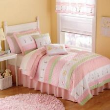 PEM America Tara 3pc Quilt Set FULL/QUEEN Pink White Flowers Embroidery NEW $379