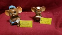 Two Josef Originals Mice--- Doctor and Mailman + Tags and Foil Labels Japan