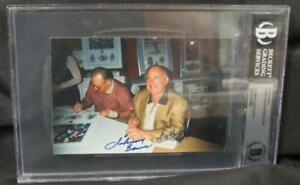 Johnny Bower & Bobby Bauer Dual Autographed Signed 4x6 Vintage Photo Beckett COA