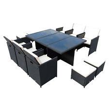 Outsunny Set Mobili da Giardino Rattan Set Tavolo, 6 Sedie, 4 Poggiapiedi 11pz