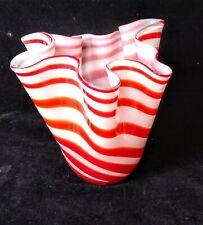 "VINTAGE Handkerchief Art Glass Vase RED WHITE STRIPED 8"""