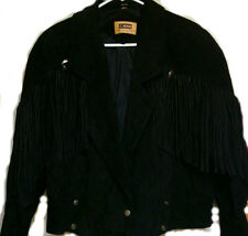 ☆G4000 Vtg Genuine Suede Leather Sturgis Fringe Motorcycle Cropped Jacket☆Med☆