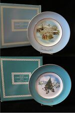 1977 & 1978 Avon Christmas Plate ~ Crackled Finish ~ Both in Original Box