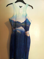 NEW H&M BEYONCE  in H&M Bodycon Fitted Sleeveless Patterned Blue Beach  Dress M