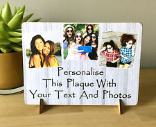 "8x6"" Personalised Plaque with Photos friendship quote best friends new gift...."