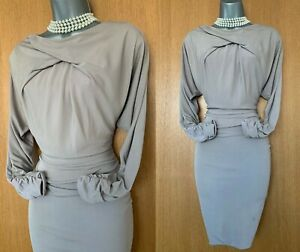 Karen Millen UK 10 Beige Jersey Ruched Grecian Style Office Work Shift Dress