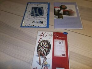 40th Birthday Card 3 too pick from