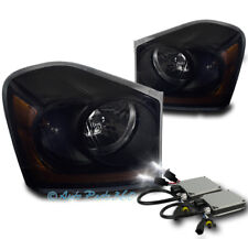 04-05 DODGE DURANGO CRYSTAL REPLACEMENT HEADLIGHTS LAMP BLACK/SMOKE W/6K HID KIT