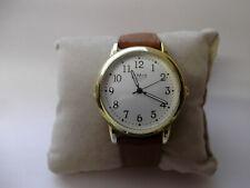 Limit mens gold tone large dial quartz watch with tan brown strap