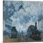 ARTCANVAS Arrival of a Train Canvas Art Print by Claude Monet