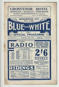 Manchester City V Birmingham Rare Division One Programme 1935/36