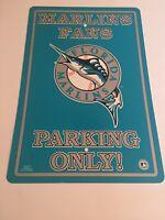 """Vintage 1997 Florida Marlins MLB 12""""x18"""" Plastic Sign Marlins Fans Parking Only!"""