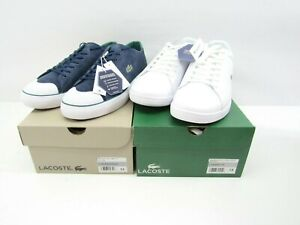 Lot of 2 Lacoste Mens Sneakers Size 13 Gripshot Carnaby Leather Blue White New