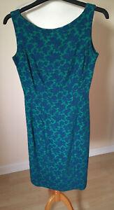 Vintage 1960's Wiggle Dress, Blue & Green, Wendy, 10, MOD Mad Max