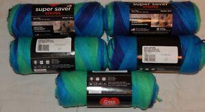 Red Heart Super Saver Stripes Yarn-5 NEW 5 oz. skeins - Cool Stripe - Lot 0710