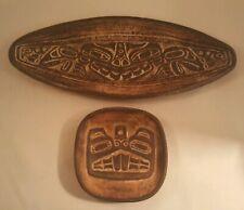 RARE 2 Vintage Haida Indian Pottery GENE BARKER Haida Sea Monster DISH (AB1)