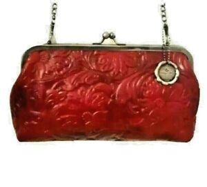 Patricia Nash Potenaz Floral Tooled Leather Clutch Shoulder Bag Chain Strap-Red