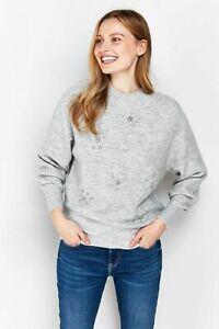 Wallis Womens Grey Embellished Jumper Knitwear Sweater Pullover Top Long Sleeve