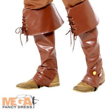 Brown Pirate Bootcovers Mens Fancy Dress Caribbean Adults Costume Boot Tops New