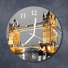 Glass Wall Clock Kitchen Clocks 30 cm round silent Tower Bridge Yellow