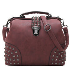 Gothic Rivet Studded Vintage Doctor Style Shoulder Bags Women Top Handle Bags