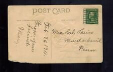 1 cent Washington green perf. shifted on postcard used