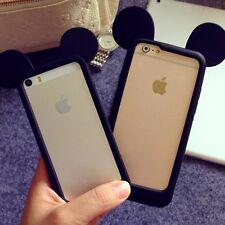 iPhone 4/5/6/7+PLUS - SOFT SILICONE RUBBER BUMPER CASE BLACK MICKEY MOUSE EARS