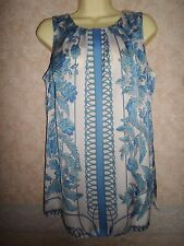 WALLIS BLUE & WHITE SLEEVELESS TOP SIZE 12
