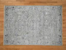 """6'1""""x9' Grey Transitional Wool and Silk Hand Knotted Oriental Rug R42452"""
