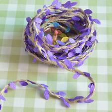 5M Jute Rustic Artificial Leaf Ribbon Decor Wedding Garlands Craft DIY Purple