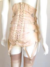Vintage Corset Camp Fan Lacing Dress Girdle Garters Open Bottom Metal Boning 28