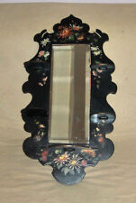 RARE Vintage Mirror Beveled Glass Wood Hand Painted Frame with Folding Shelves