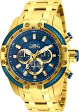 Invicta Men's Watch Speedway Scuba Chrono Blue Dial Yellow Gold Bracelet 25945