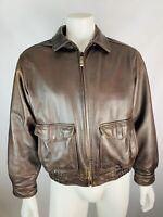 VTG Sonoma Medium Mens Leather Coat Jacket Bomber Pilot Style ZIP Up Safari