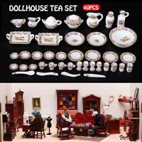 40Pcs 1:12 Dollhouse Miniature Tableware Porcelain Ceramic Tea Cup Dishes Set QA