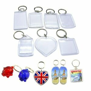 High quality clear Plastic BLANK KEY RINGS photo Insert (ALL sizes and shapes)uk