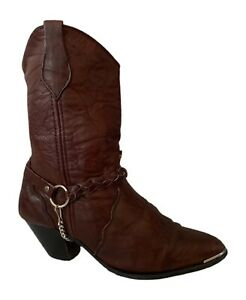 Dingo Boots Vintage Cowboy Boots Brown Harness Booties Cowgirl Boots - Women's 8