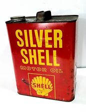 Vintage 1955-60 Silver Shell Motor Oil Old Tin Metal 2 GAL Can W/ Graphic Sign