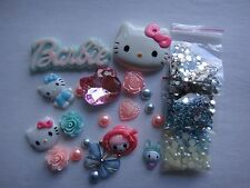 Pink Blue Kids Animal Butterfly Hello Kitty Deco Den DIY Kit Cabochon 4355