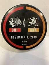 GAME USED WARMUP PUCK ANAHEIM DUCKS VS. CHICAGO BLACKHAWKS GETZLAF 1000th Game