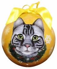 Silver Tabby Shatter Proof Ball Ornament Cat Holiday Christmas Tree Decoration