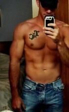 Shirtless Male Beefcake Muscular Beefy Masculine Hunk in Jeans PHOTO 4X6 F487