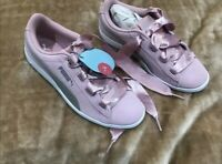 Pink & silver Suede Satin Lace Up Puma Trainers Womens Size 3 in box rrp£59