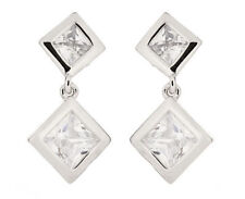 Silver Plated Cubic Zirconia Drop/Dangle Costume Earrings