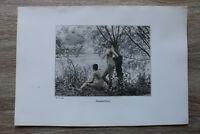 Jugendstil Kunst Blatt 1905 Erotik Frau TRAUMVERLOREN Akt Nude Erotic Risque
