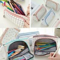 Student Pen Pencil Bag Case Zip Cosmetic Canvas Large Girls School Capacity C3R0