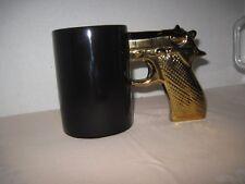 Black Coffee Mug with Gold Pistol handgun Grip Novelty Mug