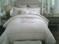 NWT Noble Excellence Linen Crest Full/Queen Duvet Cover Cream Ivory Black Print